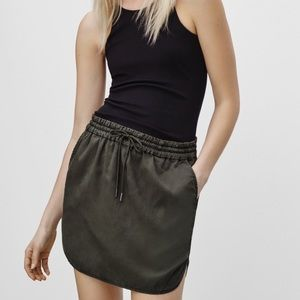 Aritzia Community army green drawstring skirt